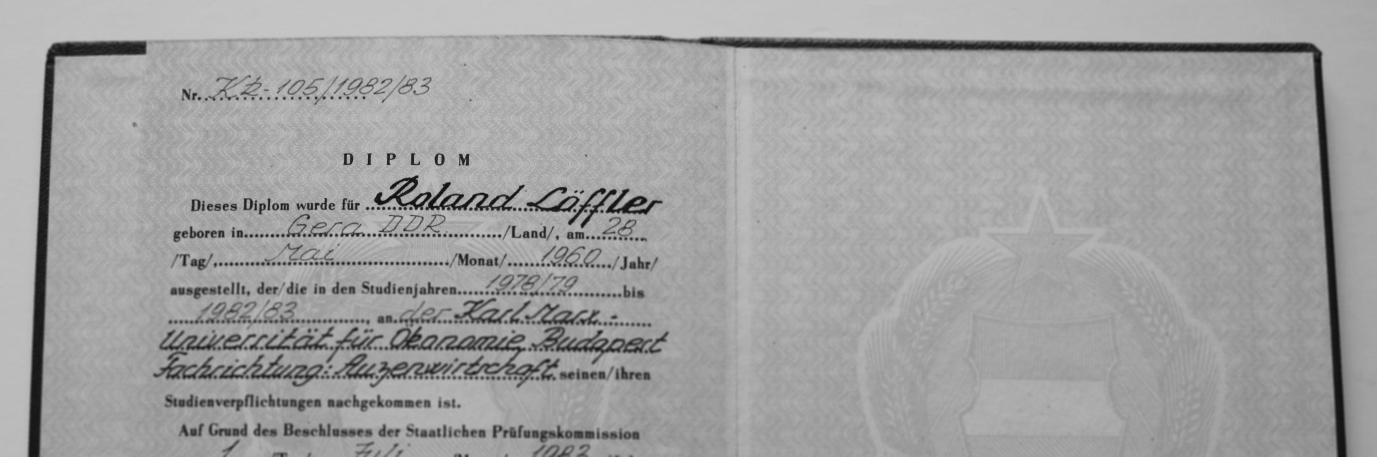 Diplom von Roland Löffler